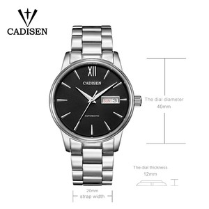 Image 3 - CADISEN Automatic Mens Mechanical Watch Waterproof Week Calendar Double Show Business Gentleman Man Style Steel Band Watch