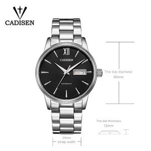 Image 3 - CADISEN automatyczny męski zegarek mechaniczny wodoodporny kalendarz tygodniowy podwójny pokaz biznesowy dżentelmen styl męski pasek stalowy zegarek