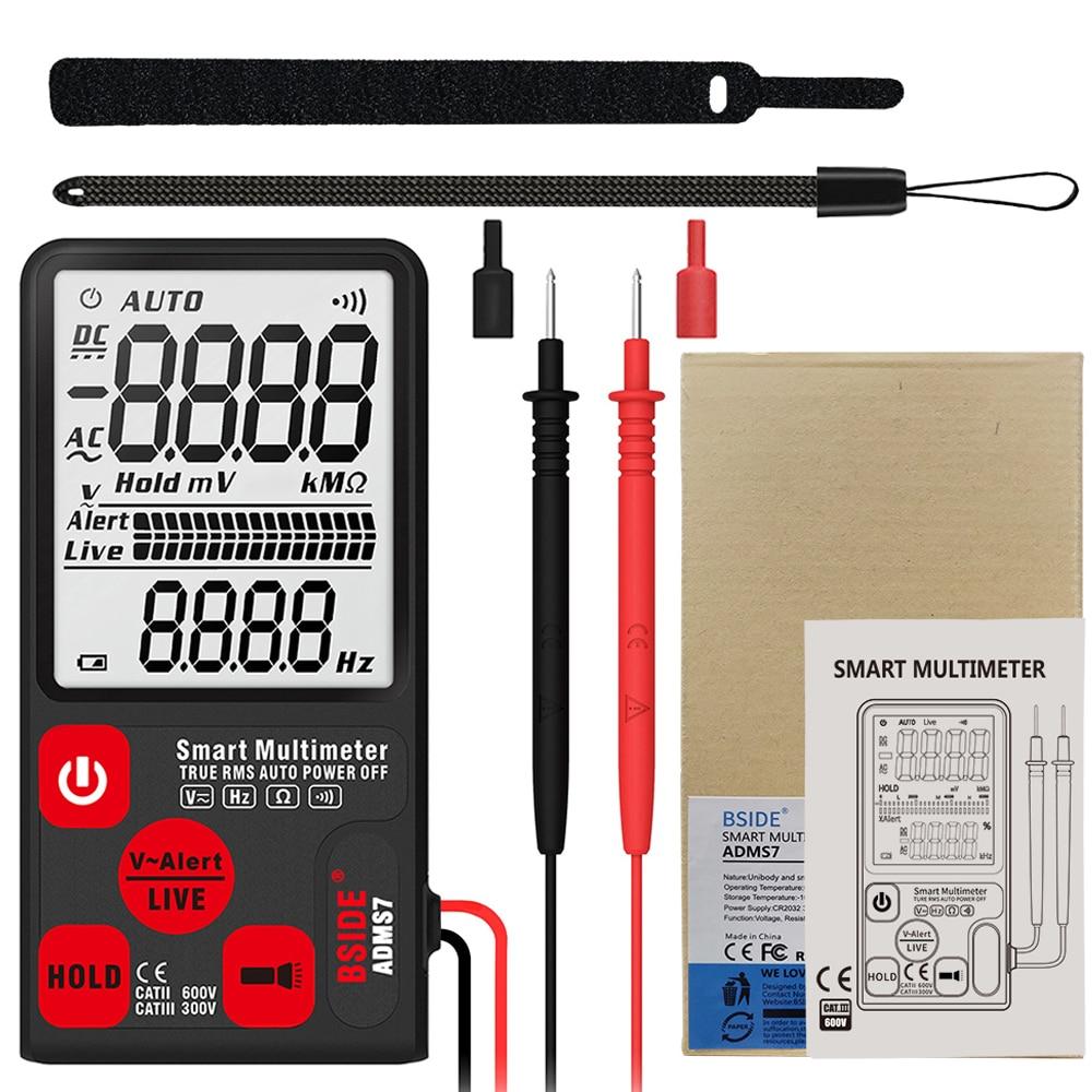 "H02c57241d5ab45249e3cedddf17a69bbq Ultra-Portable Digital Multimeter BSIDE ADMS7 S9CL Large 3.5"" LCD 3-Line Display Voltmeter DMM AC DC Voltage NCV Ohm Hz Tester"