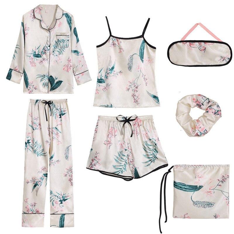 Lisacmvpnel 7 Pcs Multiple Matches Women Pajama Set Ice Silk Printing Fashion Long Sleeve Trousers Set Sleepwear