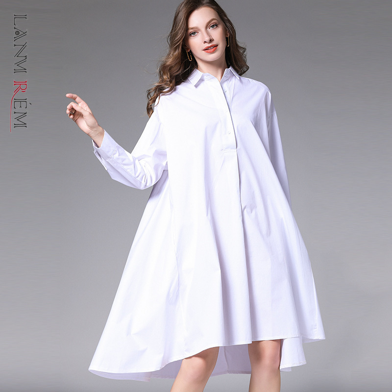 LANMREM Can Ship 2020 Dresses For Women Spring Fashion New Loose Turn Down Collar Collar Irregular Hem Shirt Style Dress YH870