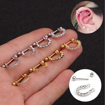 1pc Stainless Steel Barbell With Cz Hoop Cartilage Helix Lobe Earring Ear Piercing Jewelry.jpg 350x350 - 1pc Stainless Steel Barbell With Cz Hoop Cartilage Helix Lobe Earring Ear Piercing Jewelry