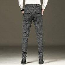 Модные мужские брюки, клетчатые, деловые, повседневные, приталенные, Pantalon, Homme, классические, винтажные, костюм, брюки, брюки для свадьбы