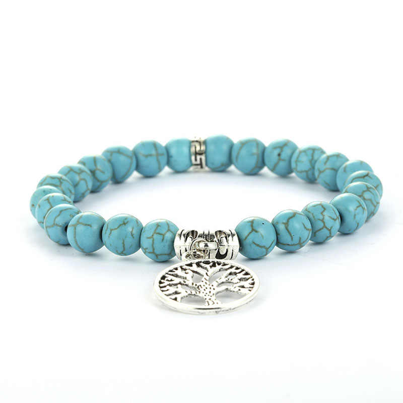 New Hot Natural Stone Beads Bracelets Lucky Charm 8mm Blue Turquoises Couple Bracelets Jewelry Bracelet Hand Chain for Women
