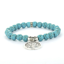 New Hot Natural Stone Beads Bracelets Lucky Charm 8mm Blue Turquoises Couple Jewelry Bracelet Hand Chain for Women
