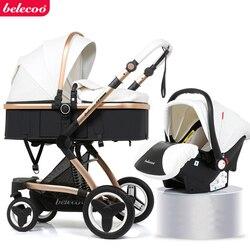 детская коляска 2 в 1/ 3 в  1 эко-кожи  может сидеть и лежать раза два-способ амортизатор коляска Бесплатная доставка