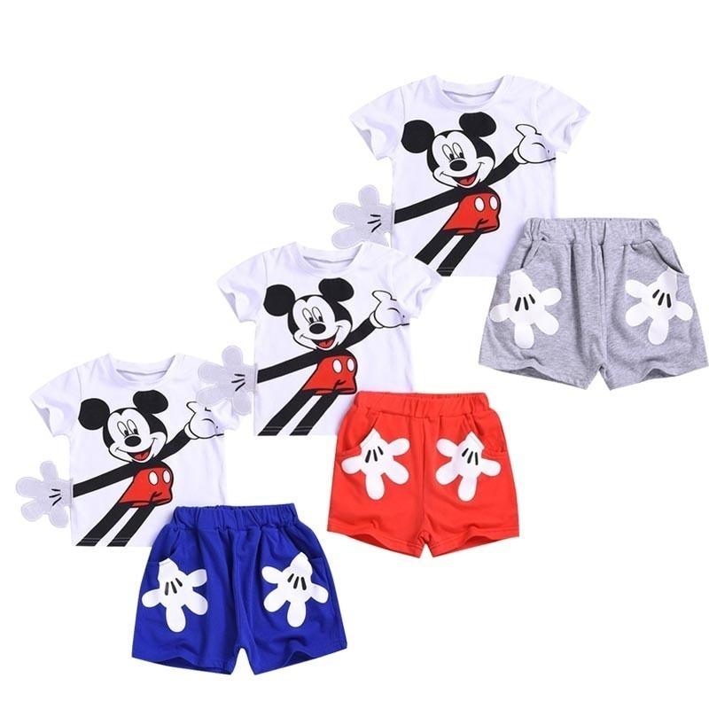Summer Baby Boy Clothing Cotton Girls Clothing Set Mickey Sports Unisex Baby Clothes Roupas Bebe Cartoon Designer Kids Outfits