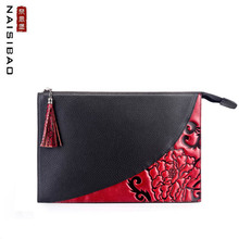 NAISIBAO 2019 New women Genuine Leather bag top cowhide fashion tassel luxury designer genuine leather Envelope clutch