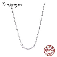 цены на Chocker Necklace 925 Sterling Silver 925 Jewelry Necklace For Women Woman 2019 With Rhinestones Golden  в интернет-магазинах