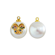 2020 natural pearl butterfly charm pure copper inlaid zircon high-end jewelry diy earrings pendant wholesale