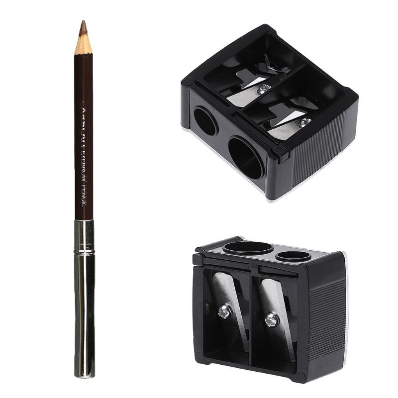 Double Holes Sharpener For Cosmetics Eyeliner Pencil + Pencil Sharpener Makeup Set Practical Eye Liner Pen Tool R3MF