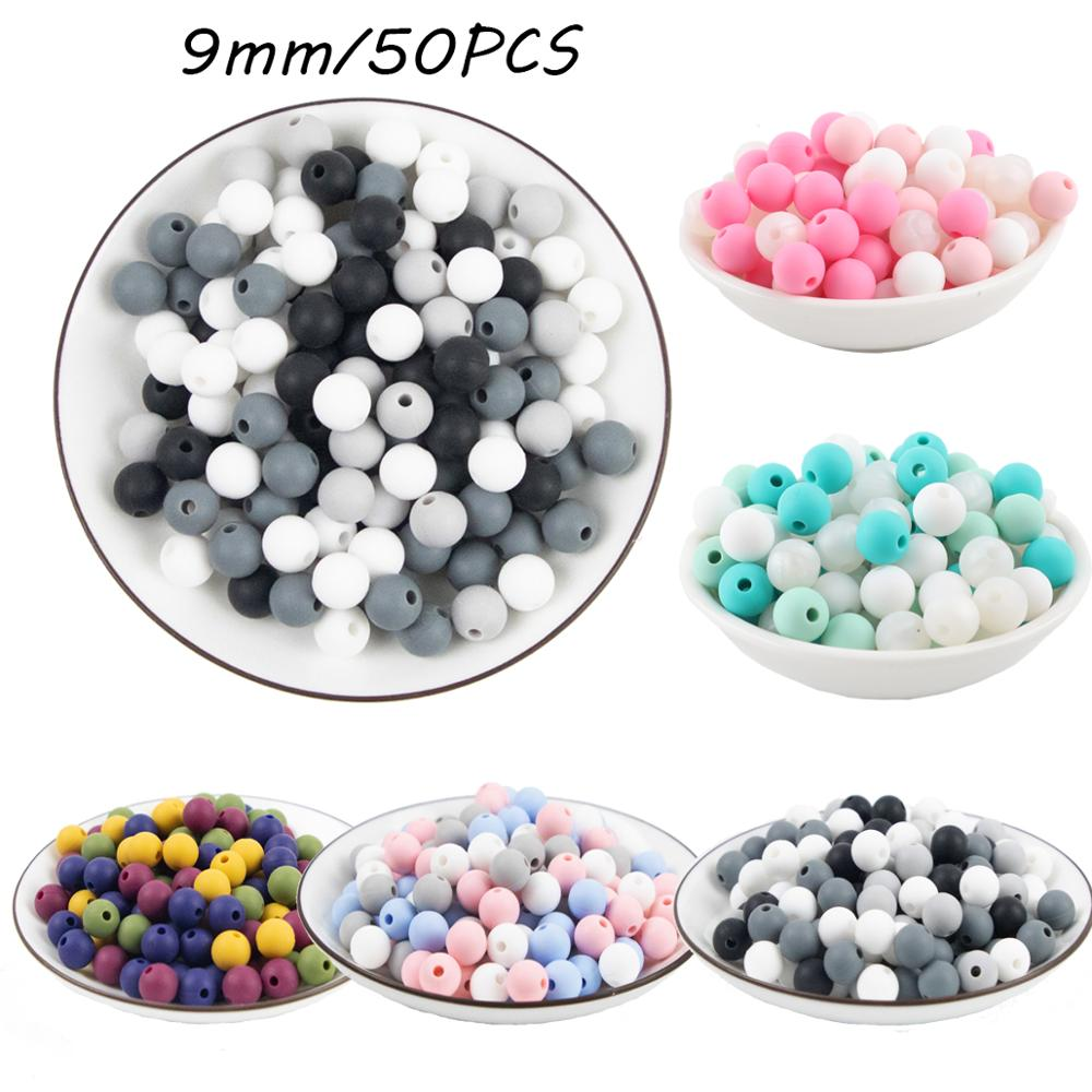 50pcs Perle Silicone Beads 9mm Baby Teether Round Beads Food Grade Beads DIY BPA Free Beads 9mm Silicone Beads Children Product