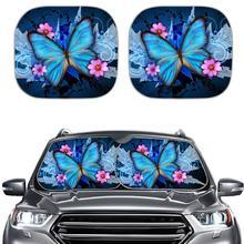 Windshield-Sunshade Window-Visor Car Front Blue Foils 2-Piece Solar-Protect Heated Foldable