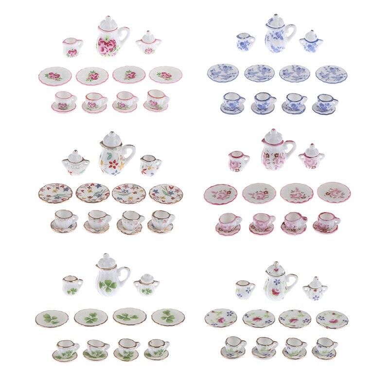 15pcs 1:12 Porcelain Tea Cup Set Flower Tableware Kitchen Dollhouse 1/12 Scale Miniature (8 Patterns For Your Choice)