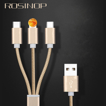 OUSU 3 in 1 USB Cable 2.4A Fast Charging For iphone 7 8 x tipo C sarj kablosu xiaomi kabel Lighting Micro