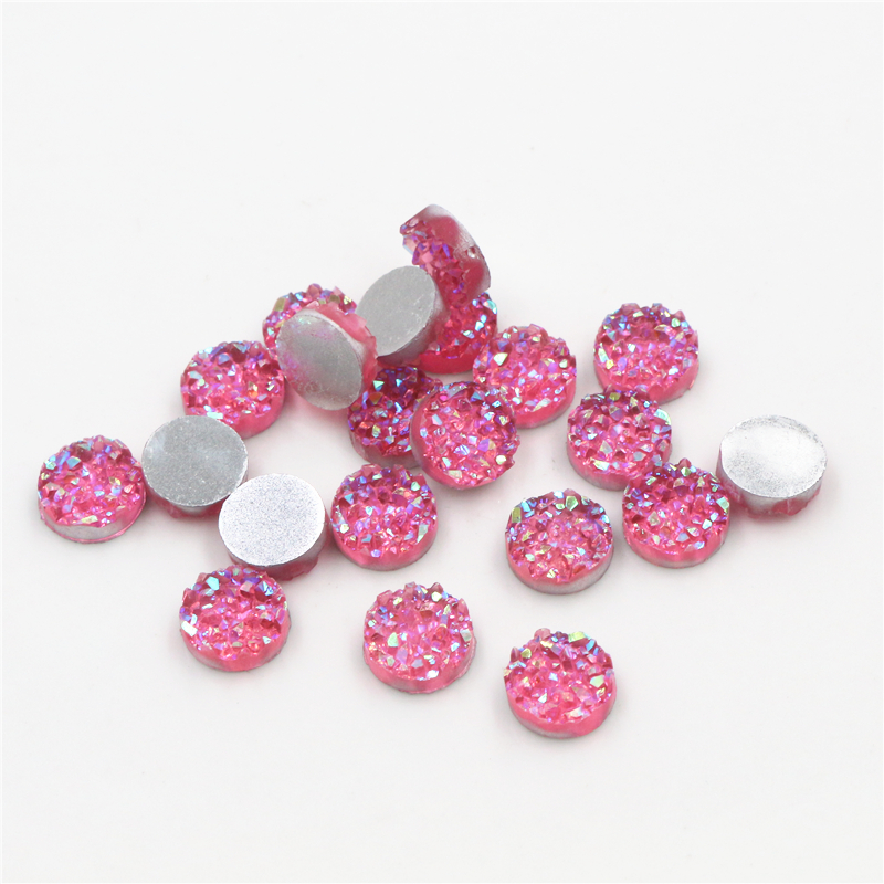 New Fashion 8mm 10mm 40pcs Pink Red AB Colors Natural Ore Style Flat Back Resin Cabochons For Bracelet Earrings Accessories