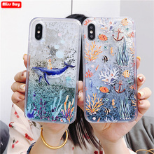 Dolphin Coral Liquid Glitter Case for Huawei Honor 10i 20I 20 Lite P Smart Plus 2019 Y5 Y9 2018 Mate Pro 20Lite Cover