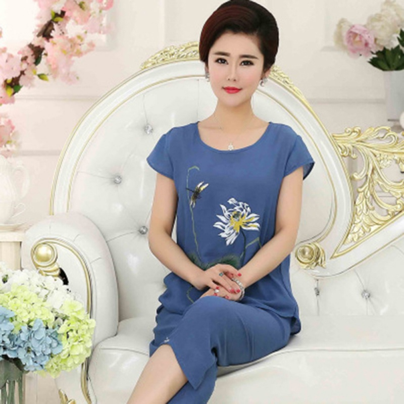 Women's Pajamas Set Ladies Short-sleeved Mother's Casual Chrysanthemum Print Plus Size Home Clothes Sleep Suit  Pajamas Set