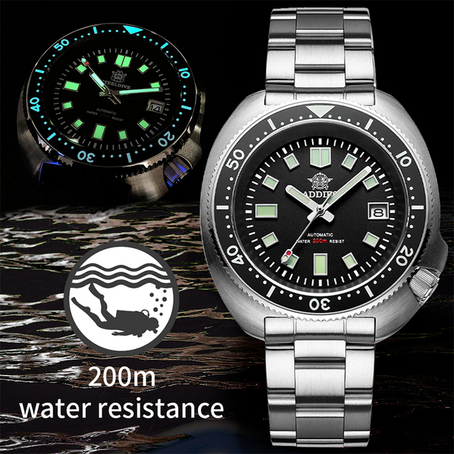 Waterproof automatic watch men Sapphire Crystal Stainless Steel NH35 Automatic Mechanical Men's watch 1970 Abalone Dive Watch 1