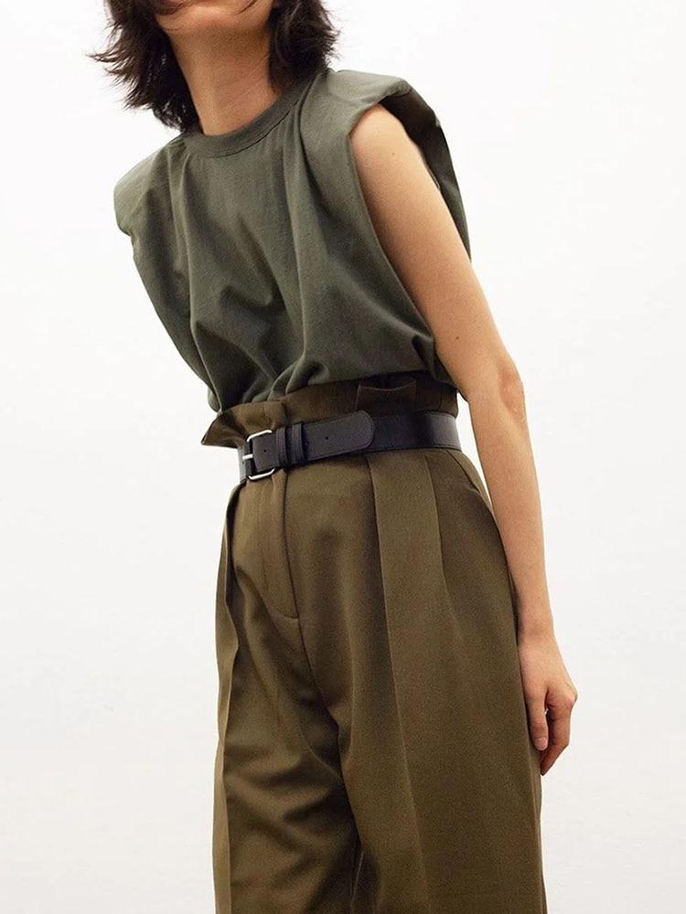 2020 Women za Fashion Solid 95% Cotton Shoulder pad T-shirt Vintage O-Neck Sleeveless Tops Casual Girls Streetwear 11