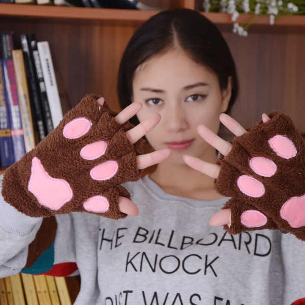 Harajuku Cartoon Cat Paw Knitted Keyboard Long Fingerless Gloves Mitten Women Winter Wrist Arm Warmer Mittens Moda Feminina #2