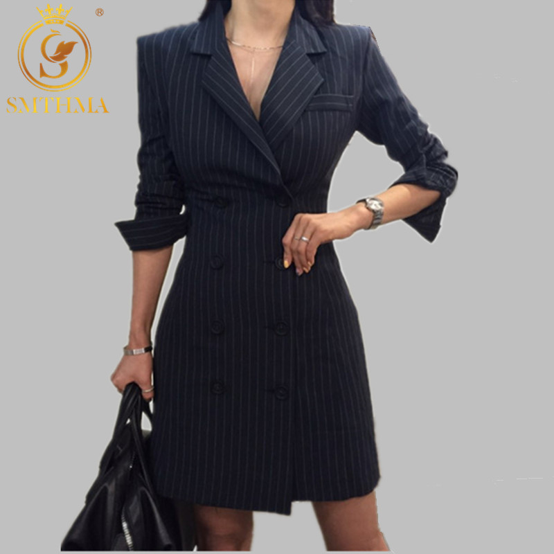 2019 New Arrival Women Blazer Jackets Plaid Stripes Blazer Outerwear Double-breasted Blaser Feminino