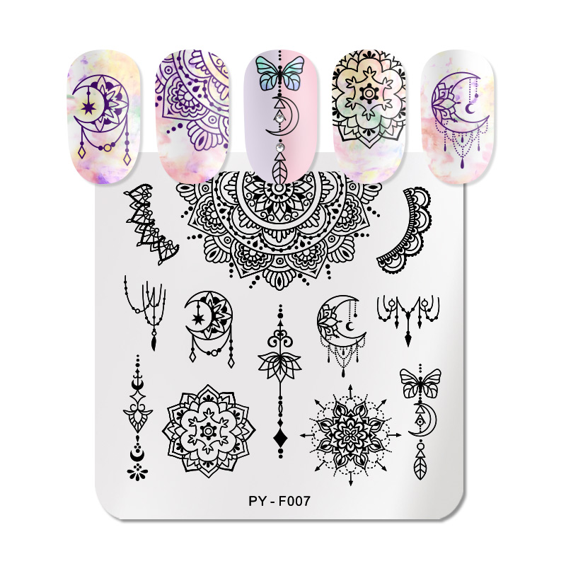 PICT YOU  Mandala Series Nail Stamping Plates Geometric Grid Flower Nail Art Stamping Image Templates Stamp Plate Stencil Tools