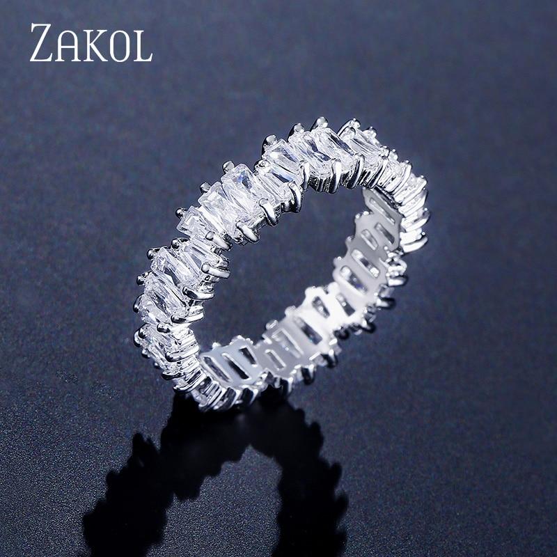 ZAKOL Mode Luxus Multicolor Charme AAA Baguette Zirkonia Hochzeit Ringe für Frauen T Form Stein Partei Schmuck FSRP252|Verlobungsringe| - AliExpress