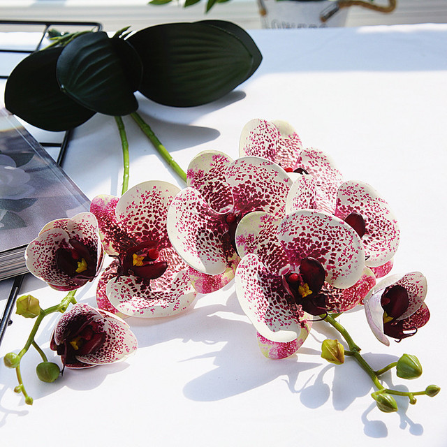 Amazing Orchid Flowers With Leaves Real Touch Latex Artificial Flowers Home Table Centerpiece Decoration Flores Artificial Dried Flowers Aliexpress