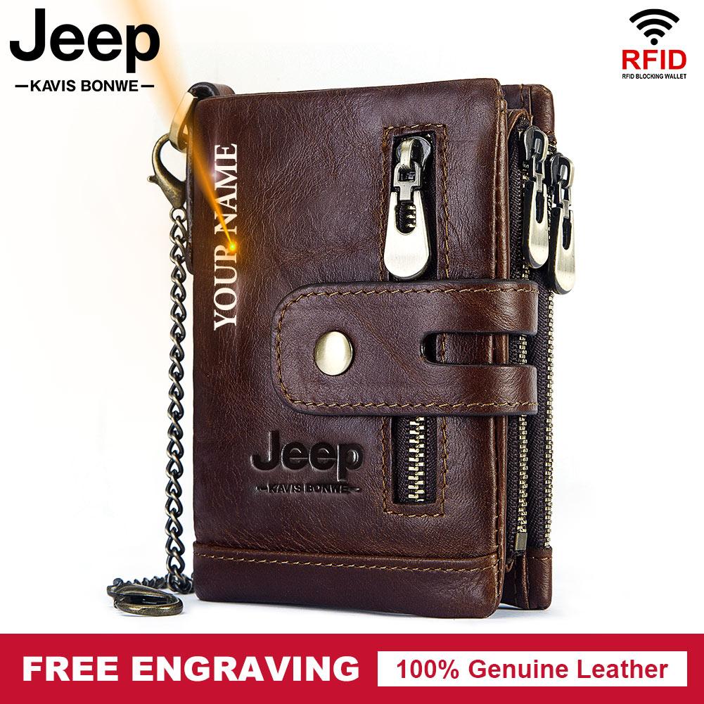 Маленький кошелек из 100% воловьей кожи, мужской кошелек двойного сложения с держателем для кредитных карт, кошелек с RFID-блокировкой для мужчин, Высококачественная цепочка, портмоне