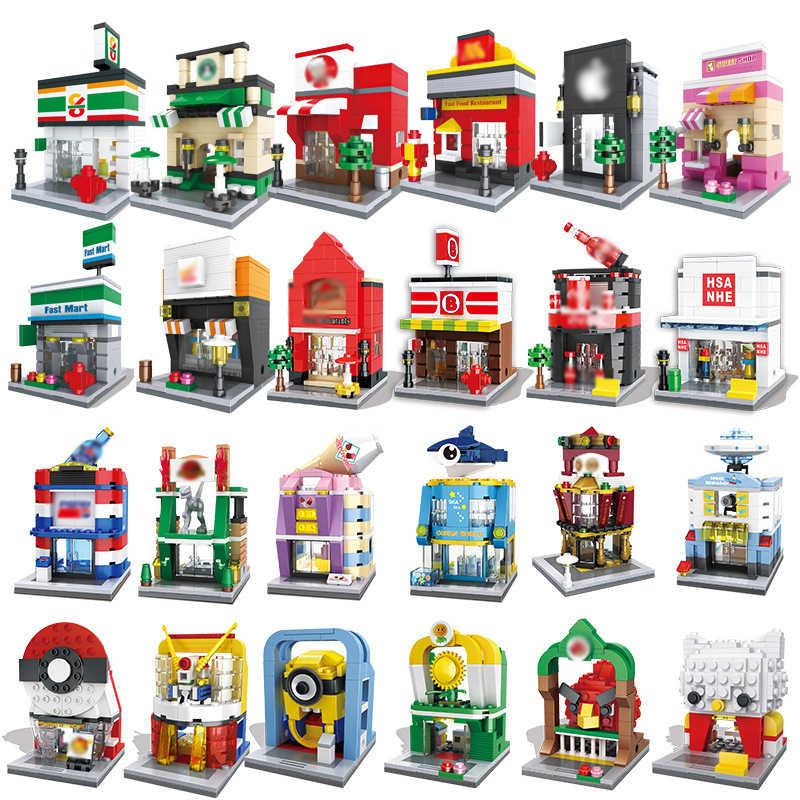 Città Mini Street View Serie di Giocattoli Negozio di Vendita Al Dettaglio 3D modelli building block brick KFEC Cafe di Apple In Miniatura per il regalo dei bambini