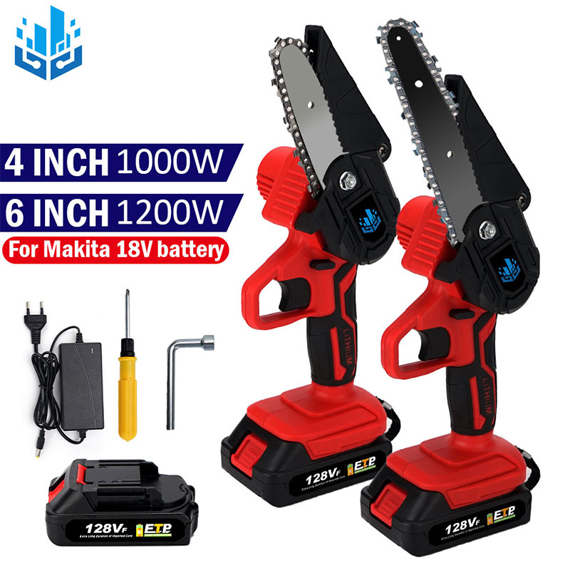 6 Inch 1200W Portable Electric chainsaw 4 Inch Mini Electric Saws Woodworking Pruning 1-handed Garden Tool 128Vf Lithium Battery