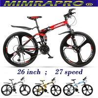 Mimrapro 26 polegada bicicleta dobrável de alta-carbono de aço mountain bike bicicletas 27 velocidade freios a disco bicicletas mtb 4 cores