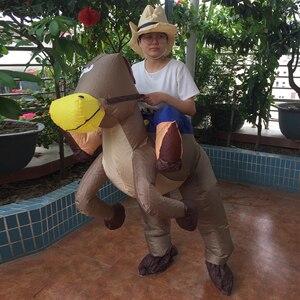 Image 3 - 1.5 2m Gonfiabile Costumi di Halloween Per I Cavalli di Poliestere In Sella A UN Cavallo Costume Da Cowboy A Cavallo Gonfiabile Costume