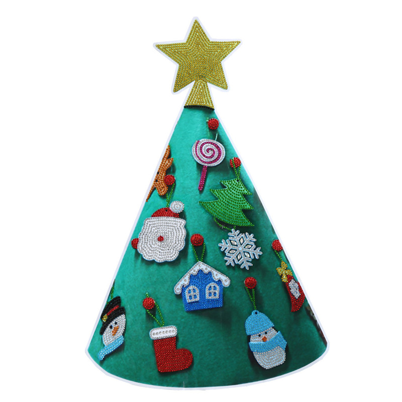 New Year 3D DIY diamond painting Christmas tree wall sticker window sticker window stickers Xmas wall stickers for kids rooms