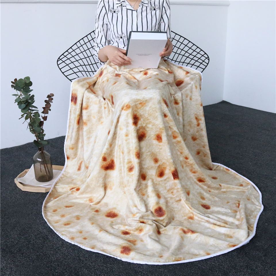 Photography Props Simulation Pancake Blankets Corn Tortilla Blanket Pita Throw Flannel Fleece Sofa Blankets Kids Crawling Mat