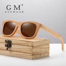 GM винтажные бамбуковые деревянные солнцезащитные очки ручной работы, поляризованные зеркальные модные очки, спортивные очки в деревянной коробке
