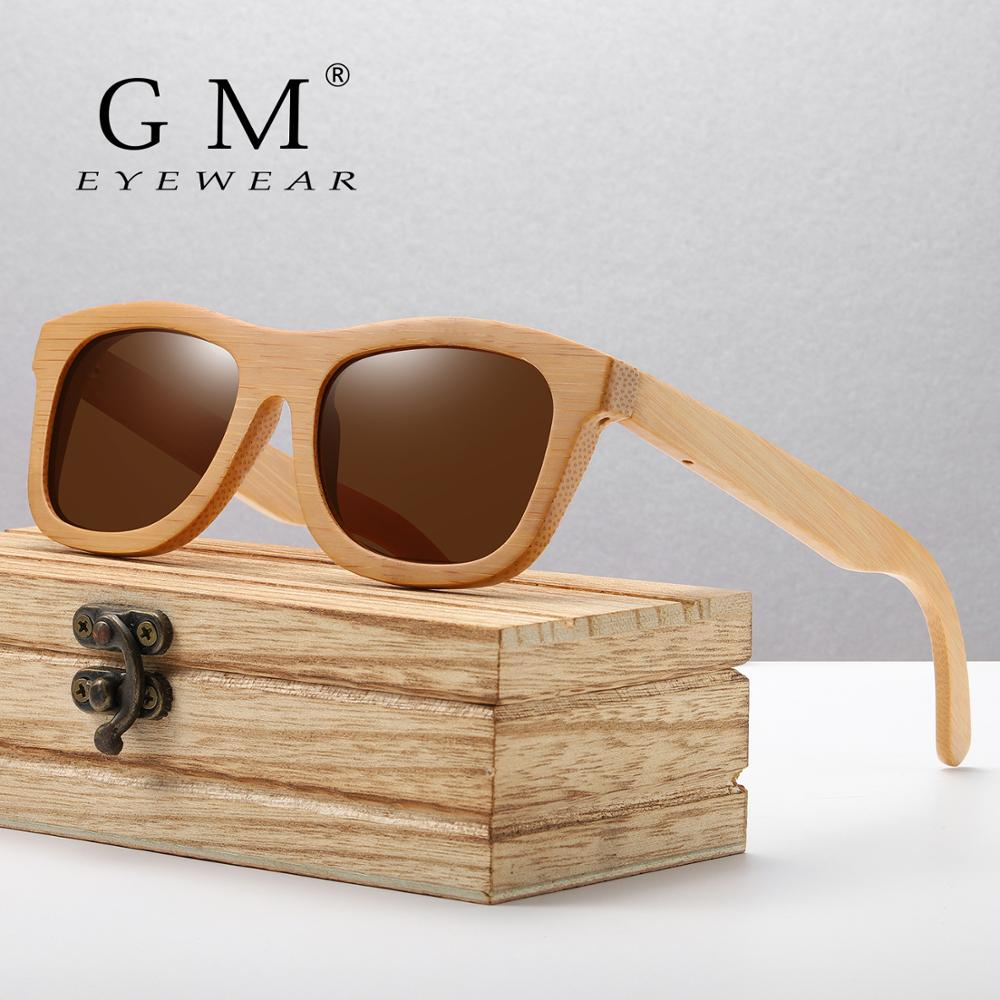 GM Vintage Bamboo Wooden Sunglasses Handmade Polarized Mirror Fashion Eyewear Sport Glasses In Wood Box