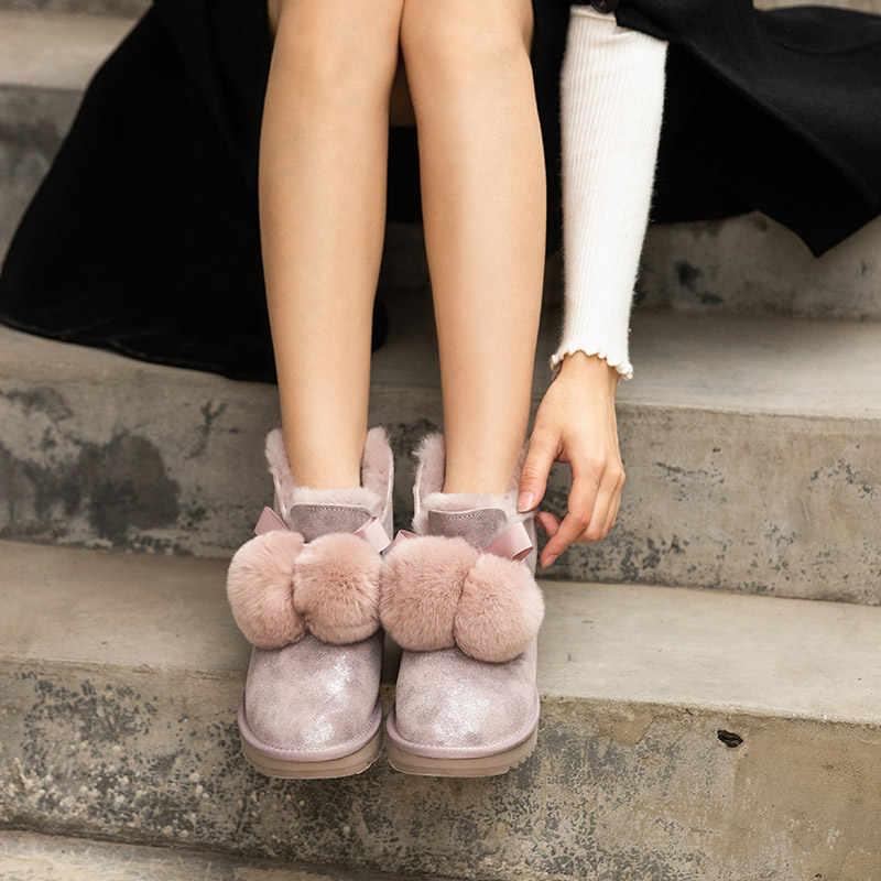 BeauToday kar botları kadın inek süet deri yuvarlak ayak tavşan saç top dekorasyon bayanlar kış yün yarım çizmeler el yapımı 08018