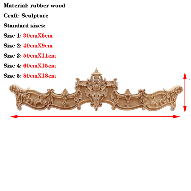 RUNBAZEF  European Wood Carving Home Wholesale Multi-specification Door Cabinets Wood Applique Decoration Long Decals Natural 2