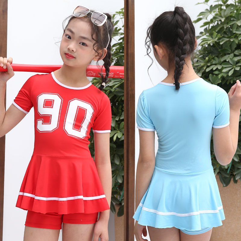 KID'S Swimwear One-piece Princess Dress-Cute Girls Swim Students Big Boy Baby Korean-style Boxer Swim Bathing Suit