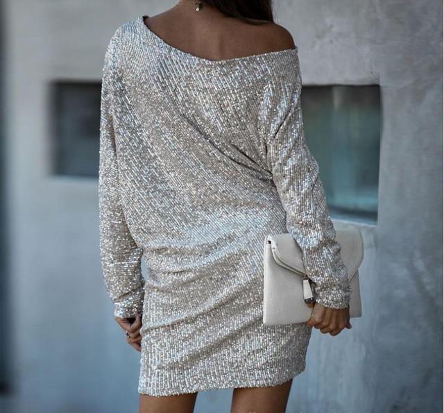 Sequin Dress Woman Bling Batwing Sleeve Vestido Party Cool Girls Dress Woman 2021 Dropshipping 3