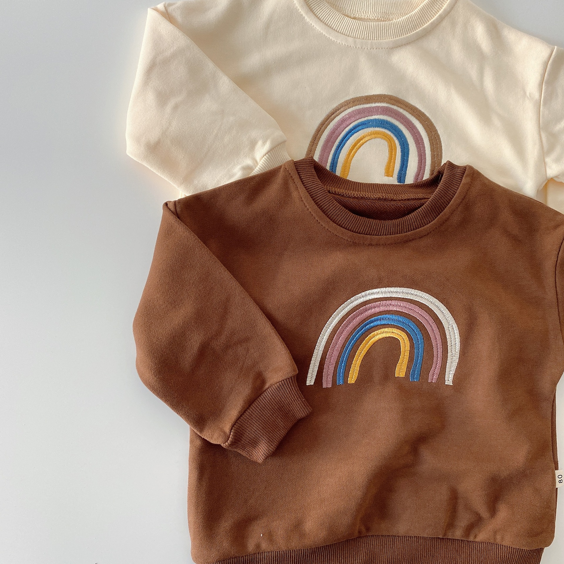 Autumn Baby Girls Embroidery Rainbow Sweatshirts Long Sleeve Tops Kids Toddler Boys Pullover Sweatshirt Rainbow T-shirt Clothes 1