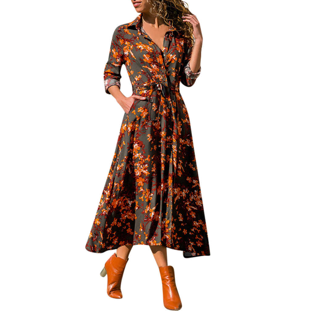 FREE OSTRICH Women Dress European And American Autumn Print V-Neck Long-Sleeved High-Waist Lace Dress Ladies Girls 726