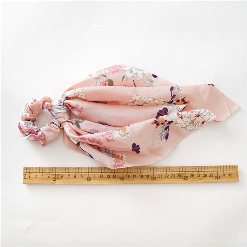 Vintage Big Flower Scrunchie Women Ponytail Scarf Long Streamers Bow Hair Scarf Knotted Hair Ties Ribbons Bands Hair Accessories