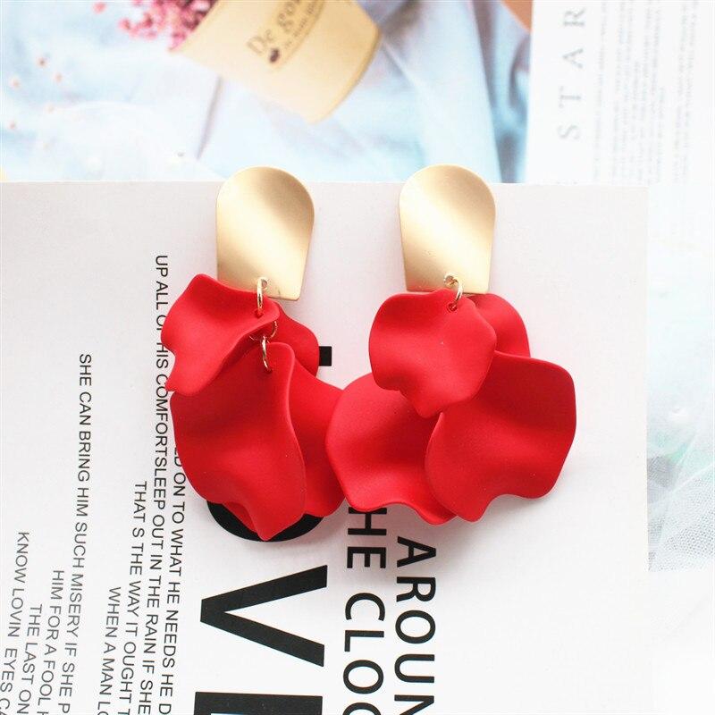 2019 Korea Hot Fashion Jewelry Acrylic Paint Romantic Leaves Rose Petals dangle Earrings Gold Copper Earrings for women gift