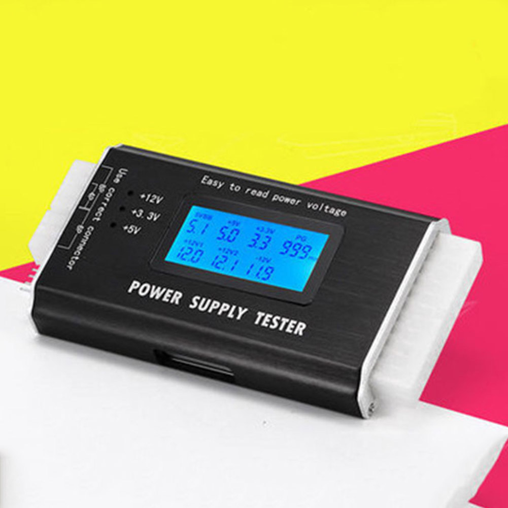 Power Supply Tester Digital Digital LCD Power Bank Supply Tester Computer 20/24 Pin Power Testers Support 4/8/24/ATX Interface