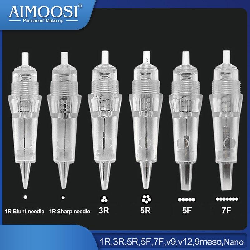 15pcs/lot Needle Cartridge For Aimoosi A5 Digital Tattoo Machine Permanent Makeup- 1R,3R,5R,5F,7F,v9,v12,9meso,Nano To Choose