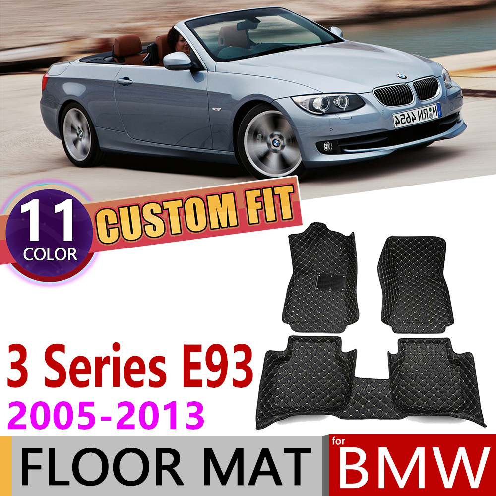 Custom Leather Car Floor Mats For BMW 3 Series E93 Convertible 2005~2013 5 Seats Foot Pad Carpet Accessories 2008 2009 2010 2011