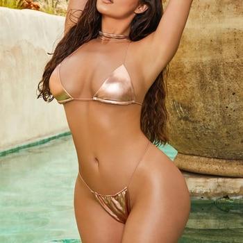 2019 Swimwear Womens Hot Sexy Women Bikini Set Rose Gold Swimsuit Bikini Push Up Swimwear Beach Bathing Suit S-L 8